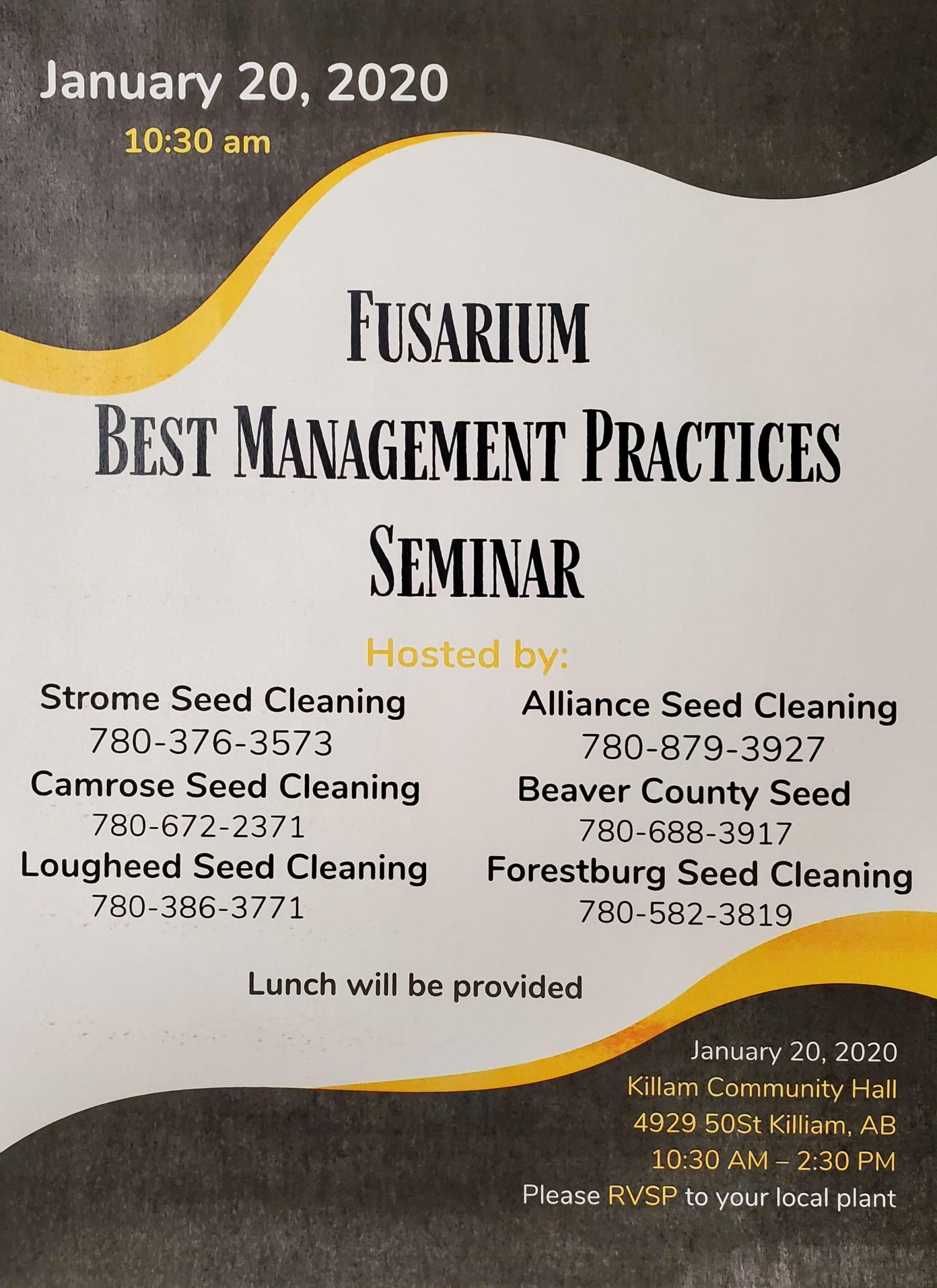 Fusarium Best Management Practices Seminar